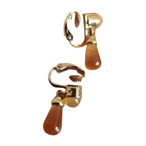 Boucles d'oreille NINA RICCI Or Jaune et Ambre