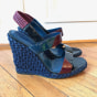 Wedge Sandals YVES SAINT LAURENT Blue, navy, turquoise