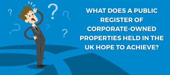 What does a public register of corporate-owned properties held in the UK hope to achieve?