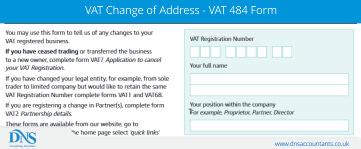 VAT Change of Address Details - VAT 484 Form