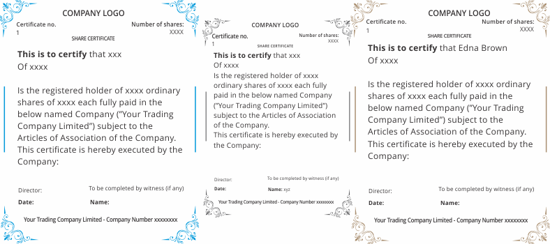 share certificates template uk