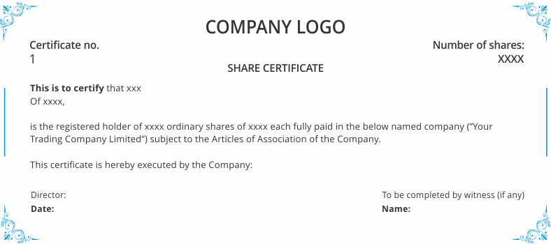 shareholders agreement  u0026 share certificate template uk