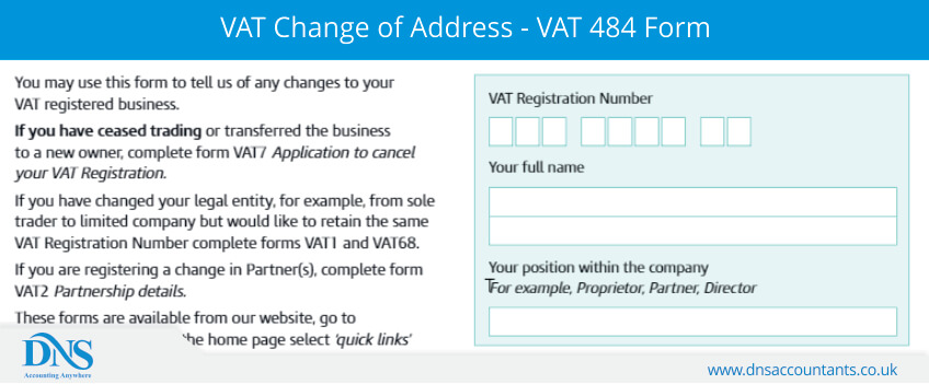 VAT Change of Address - VAT 484 Form