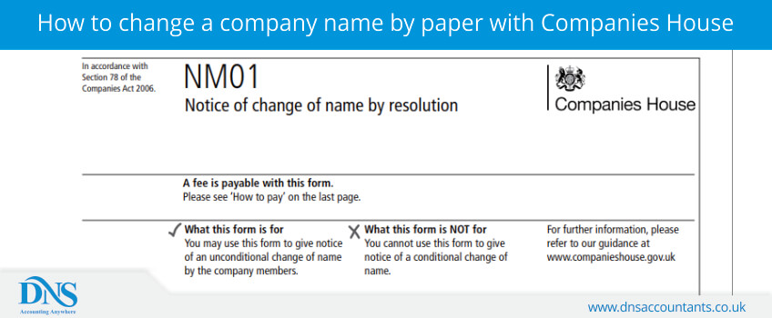 How to change a company name by paper with Companies House
