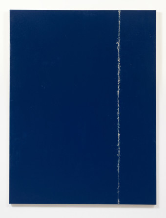 Big Blue Tear, 2014, One shot enamel and oil paint on canvas, 71, Photo credit: Robert Wedemeyer