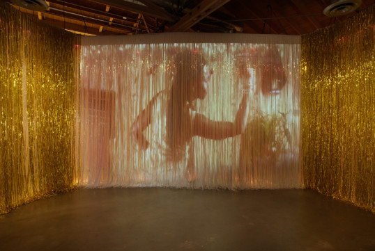 She seas dance, 2012, Iridescent, white and gold PVC, Louver styrene, 3 channel projections, 177, Photo credit: Robert Wedemeyer