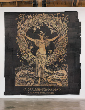 "A Garland for May Day (Illustration by Walter Crane), 2012, Marker on found cardboard, 13' x 12' 4"", Photo Credit: Robert Wedemeyer"