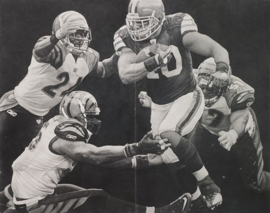 Scheme (Football #5), 2011, Pencil on paper, 81