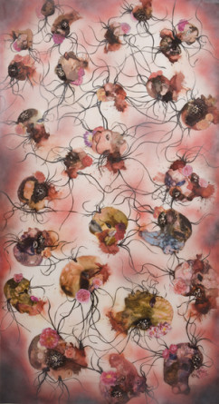 Fallen Heads, 2010, Collage, ink, mixed media on mylar, 61.05