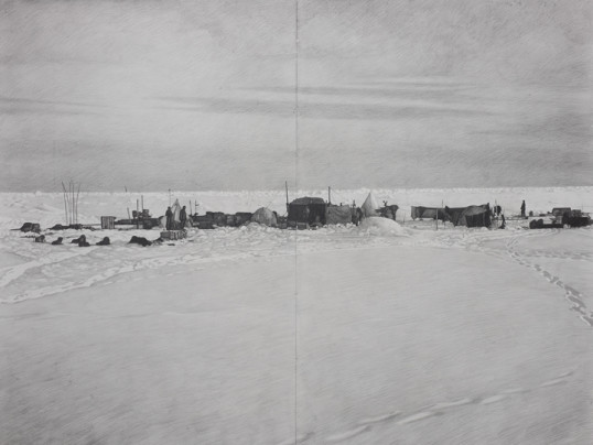 Shackleton #25, 2009, pencil on paper, diptych, 69