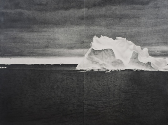 Shackleton #24, 2009, pencil on paper, diptych, 67 3/8