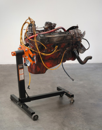 "Small Block, 2009, Oil paint on Chevy small block engine, with engine stand, 40"" x 30"" x 47"""