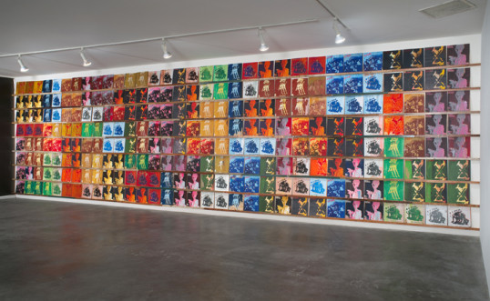 "Los Angeles, 2009, Acrylic on scrap wood, 104"" x 401"" x 2"" (256 records, 12"" x 12"" each on 8 shelves)"
