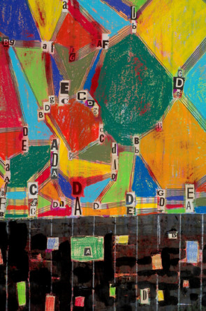 "the migration pattern of hymns and butterflies (page 2), 2008, ink, acrylic, pencil, oil pastel, crayons, collage on paper, 104"" x 42"" paper size"