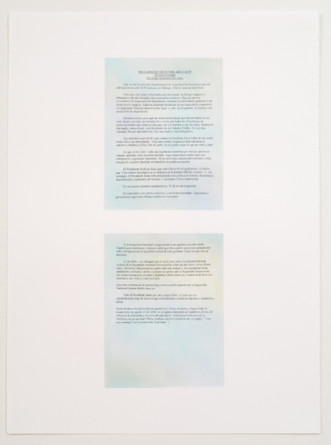 "Nonviolent Civil Disobedience Drawings (Statement of Elvira Arellano in Sanctuary August 15, 2006), 2008, colored pencil, pastel, and graphite on paper, Triptych, 33"" x 22 1/4"" paper size each,  32 1/2"" x 24 3/4"" frame size each"