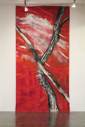 Untitled, 2008, Latex on unstretched canvas, approx 15' x 8', ArtPace San Antonio