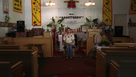 Sanctuary, 2007, 16 mm film transferred to HD video, (color, silent, 6:43 min. looped), DV media player, HD projector, CF card