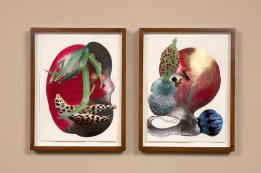 You pretty, no you pretty, 2008, Watercolor and collage on paper, 23 x 14 1/4 (2 parts, framed sizes 14  x 11 each)