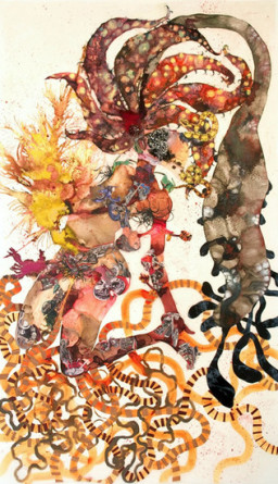 Agave you, 2008, Mixed media collage on mylar, 93 x 54
