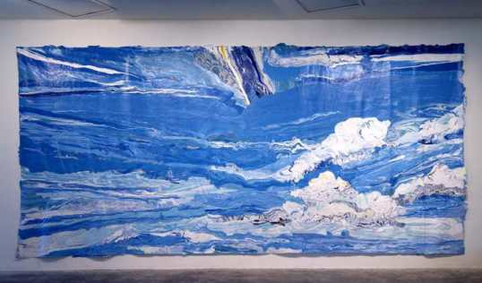 "Sky, 2006, poured Latex on canvas, 94"" x 202"""