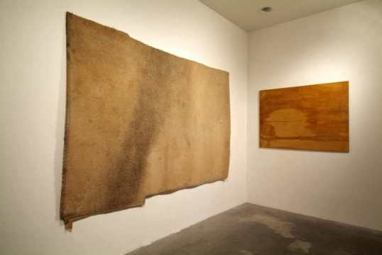 "Untitled, 2005, Found carpet, found wood board, dimensions variable, ""Statement"", ArtBasel Miami 2005"