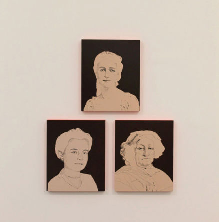 "Whitney Bedford's new paintings. Clockwise from top: ""Mme. Roederer,"" 2013, 22"" x 18,"" mixed media on panel; ""Veuve Clicquot (painted),"" 2013, 22"" x 18,"" mixed media on panel; ""Mme. Bollinger (painted),"" 2013, 22"" x 18,"" mixed media on panel--at the Frieze Art Fair, Randalls Island, NY."