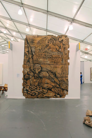 "Andrea Bowers, ""The Capitalist Vampire, (Illustration by Walter Crane),"" 2013, 165"" x 119,"" marker on found cardboard--At the Frieze Art Fair, Randalls Island, NY."