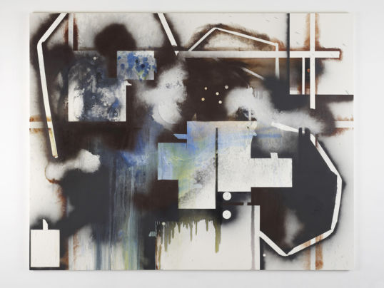 "ELIZABETH NEEL, ""Largesse and the Limits of Personal Space"", 2011, Oil and spray paint on canvas, 76"" x 96"""