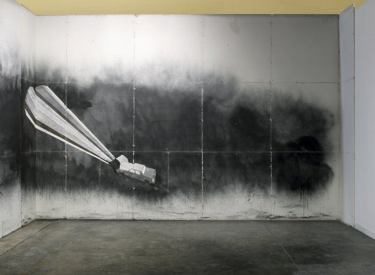 "Edgar Arceneaux, ""Number of Intersections, Exercise #51"", 2008, Graphite, Charcoal, carbon on drywall, Wall dimensions 39'6"" x 12', Installation View"