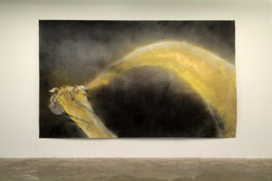 "Edgar Arceneaux, ""Untitled"", 2007 Charcoal, graphite, spray paint on paper, 80"" x 133"""
