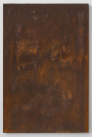 "Russet Haze, Opus 1, 2015, Rust on panel, 36"" H x 24"" W, Photo cred: Gene Ogami"