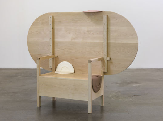"As Many Versions as Witnesses, no. 3, 2015, Wood (maple), Table position: 27.75"" tall x 72"" wide x 38"" deep, chair position: 52.25"" tall x 72"" wide x 38"" deep, Photo cred: Robert Wedemeyer"