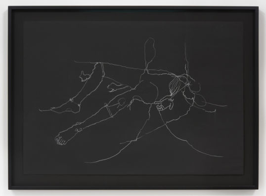 "Diotima, 2015, White charcoal on black paper, 27.50"" H x 37.50"" W (69.9 cm H x 95.3 cm W) paper size, 32.75"" H x 44.50"" W x 2"" D (83.19 cm H x 113.03 cm W x 5.08 cm D) framed, Photo cred: Robert Wedemeyer"
