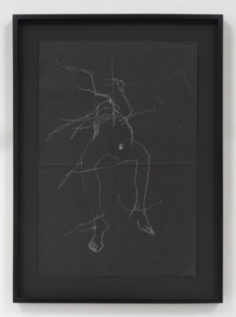 "Hex, 2015, Charcoal on black tissue paper, 30"" H x 20.25"" W (76.2 cm H x 51.44 cm W) paper size, 36.25"" H x 26.50"" W x 2"" D (92.08 cm H x 67.31 cm W x 5.08 cm D) framed, Photo cred: Robert Wedemeyer"