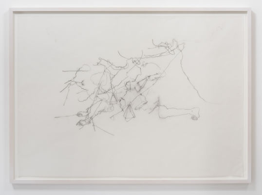 "Valk. Blind (Aveugle), 2015, Charcoal on vellum, 43"" H x 60.50"" W (109.2 cm H x 153.7cm) paper size, 47"" H x 64.75"" W x 2"" D (119.38 cm H x 164.47 cm W x 5.08 cm D) framed, Photo cred: Robert Wedemeyer"