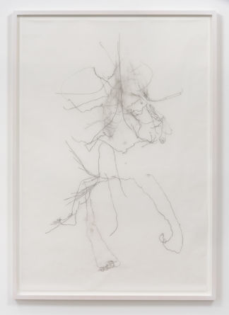 "Walkure, 2015, Charcoal on vellum, 63"" H x 43"" W (162.6 cm H x 109.2 cm W) paper size, 66.75"" H x 47"" W x 2"" D (169.55 cm H x 119.38 cm W x 5.08 cm D) framed, Photo cred: Robert Wedemeyer"