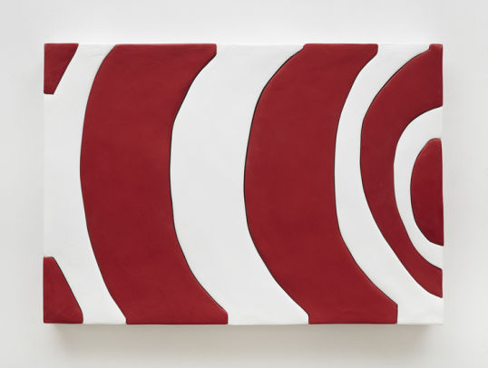 "Untitled Red and White, 2014, Medite, aqua resin, casein and acrylic, 19"" H x 27.50"" W (48.26 cm H x 69.85 cm W), Photo credit: Chris Austin"