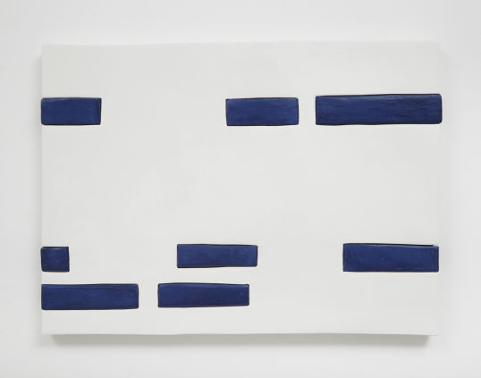 "Blue and White Dashes, 2014, Medite, aqua resin, acrylic and casein, 16.50"" H x 22.50"" W (41.91 cm H x 57.15 cm W), Photo credit: Chris Austin"