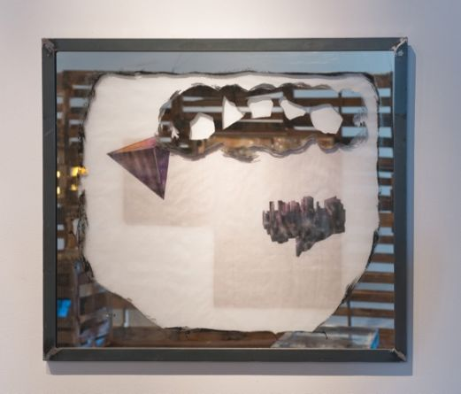 PLATONIC SOLIDS DREAMING/DETROITS SHRINKING (Tetrahedron), 2014, Painting on mirrored glass, graphite and ink on vellum, layered over colored paper, in a hand crafted steel frame, 38, SVLAP Solo Show, September 6 - October 18, 2014; Photo credit: Robert Wedemeyer