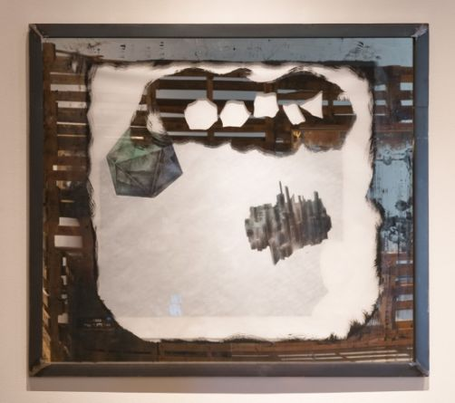 PLATONIC SOLIDS DREAMING/DETROITS SHRINKING (Icosahedron), 2014, Painting on mirrored glass, graphite and ink on vellum, layered over colored paper, in a hand crafted steel frame., 38, SVLAP Solo Show, September 6 - October 18, 2014; Photo credit: Robert Wedemeyer