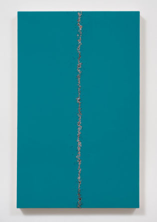 Teared Up, 2014, One shot enamel, black gesso on canvas BBs on canvas, 37.50, Photo credit: Robert Wedemeyer