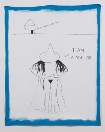 That witch can't be stopped, 2014, Ink and gesso on canvas, 75, SVLAP solo exhibition, April 19 - May 24, 2014; Photo credit: Robert Wedemeyer