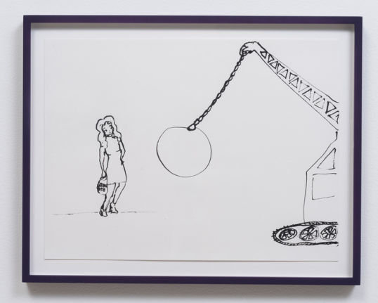 Wrecking Ball, 2014, Ink on paper, 18.25, Photo credit: Robert Wedemeyer