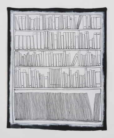 Bookshelf I, 2014, Oil pastel and gesso on canvas, 73.50, SVLAP Solo exhibition, April 12 - May 24, 2014; Photo credit: Robert Wedemeyer