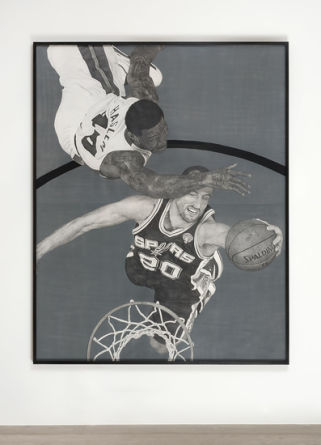 Theme Time - Basketball, 2013, Pencil and enamel on cut paper, 82.25, Courtesy of Susanne Vielmetter Los Angeles Projects; Photo credit: Robert Wedemeyer
