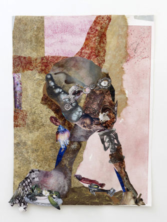 Chin rest with cut-eye, 2012, Mixed media and collage on linoleum, 42.5