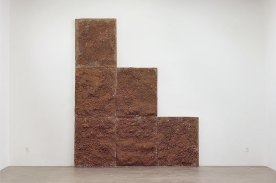 "If only the world was flat, 2013, Cast concrete, rebar, and dirt, 143"" H x 120"" W x 7.25"" D (363.22 cm H x 304.8 cm W x 18.42 cm D), Ruben Ochoa, ""Dislocated Masses,"" Susanne Vielmetter Los Angeles Projects, November 9 - December 21, 2013; Photo: Robert Wedemeyer"