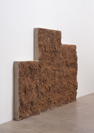 "Clumsy, dumb, and dirty, 2013, Cast concrete, rebar, and dirt, 68.75"" H x 98"" W x 7"" D (174.63 cm H x 248.92 cm W x 17.78 cm D), Ruben Ochoa, ""Dislocated Masses,"" Susanne Vielmetter Los Angeles Projects, November 9 - December 21, 2013; Photo: Robert Wedemeyer"