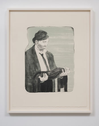 "Man Holding His Shadow, 2011, 2- color lithograph, Paper size: 22.24"" H x 17.99"" W; Frame Size: 25.5"" H x 20.5"" W, Photo credit: Robert Wedemeyer"