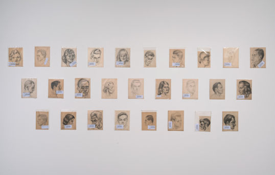 "Neshoba County Fair (detail), 2012, Single-channel color video with sound; 27 pencil on paper drawings by Horace Taylor 1942-1956, 6:39 minutes; drawings approximately 11 1/2"" x 8"" each, Unique + 2AP"